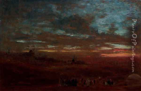 A view of Cairo at sunset Oil Painting - Albert Goodwin