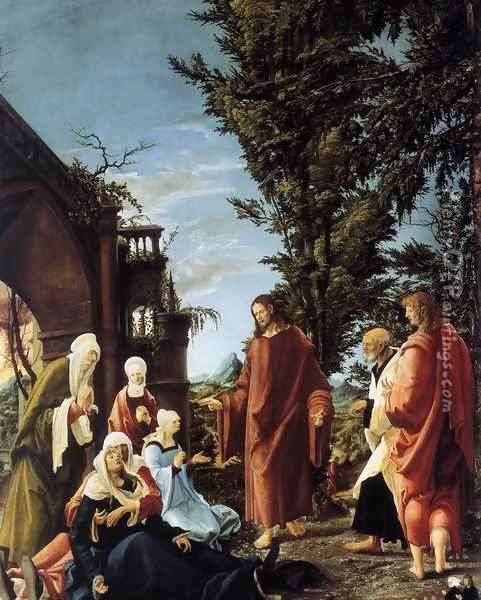 Christ Taking Leave of His Mother 1520 Oil Painting - Albrecht Altdorfer