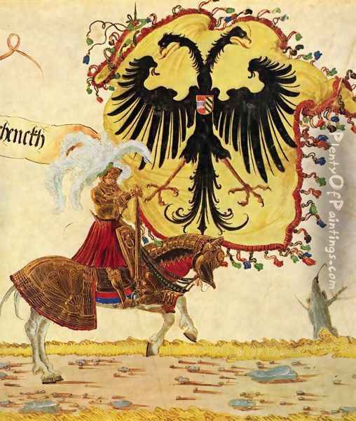 Emperor Maximilian triumph, Reich banners and imperial sword Oil Painting - Albrecht Altdorfer
