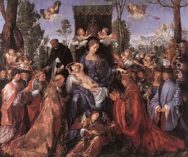 Feast of the Rose Garlands Oil Painting - Albrecht Durer