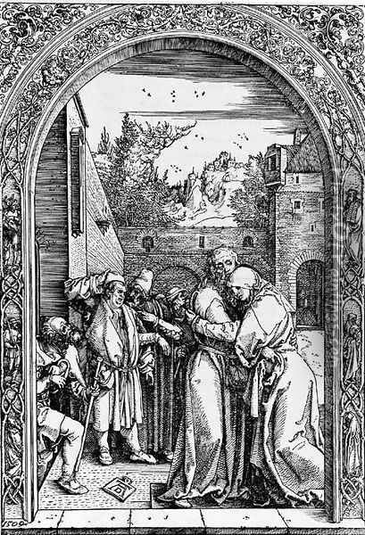 Joachim and St. Anne meet at the golden Gate, from The Life of the Virgin Oil Painting - Albrecht Durer