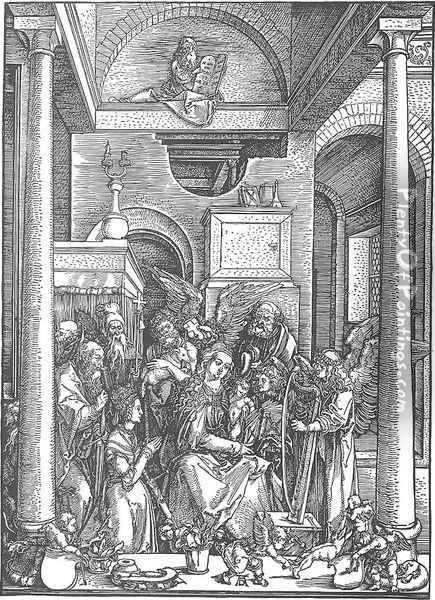 Life of the Virgin, 19. The Virgin Worshipped by Angels and Saints Oil Painting - Albrecht Durer