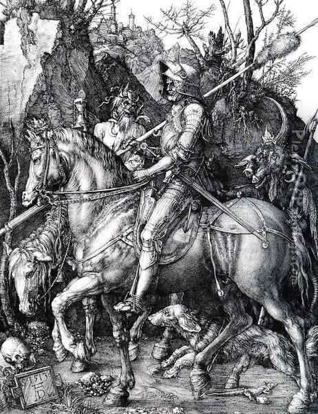 The Knight Death And The Devil Oil Painting - Albrecht Durer