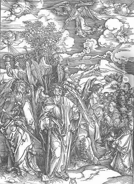 The Revelation of St John 6. Four Angels Staying the Winds and Signing the Chosen Oil Painting - Albrecht Durer