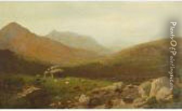 Landscape With Mountains Oil Painting - Alexander Helwig Wyant