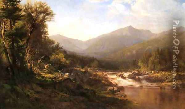 Landscape with Mountains and Stream Oil Painting - Alexander Helwig Wyant