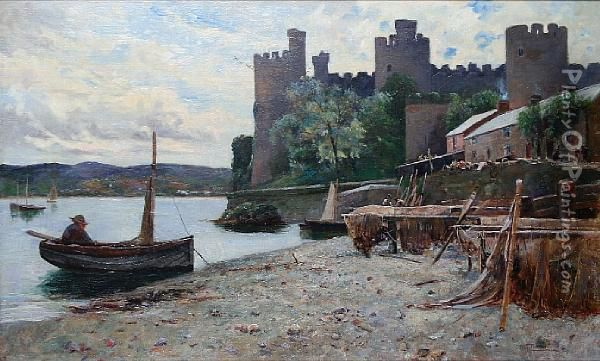 Conway Castle From The Waterfront Oil Painting - Alexander Lawson