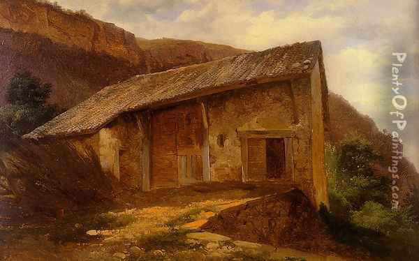A Farm House On The Side Of A Mountain Oil Painting - Alexandre Calame