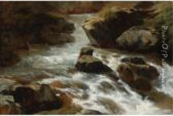 A Rocky Stream With Rapids Oil Painting - Alexandre Calame