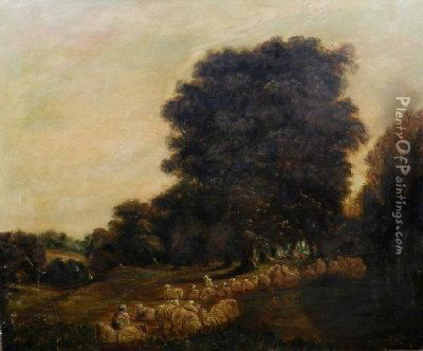 A Shepherd And Flock In A Woodland Clearing Oil Painting - Alexandre Calame