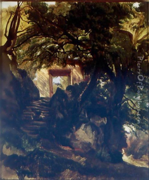 A Stone Staircase And Doorway In A Landscape Oil Painting - Alexandre Calame