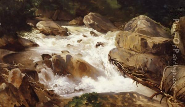 A Torrent Oil Painting - Alexandre Calame