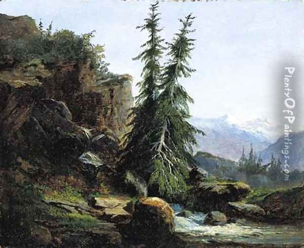 A view of the Swiss mountains of the Valais Oil Painting - Alexandre Calame