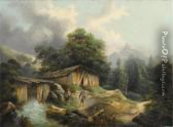 Forest Landscape With Two Figures Near A Mill Oil Painting - Alexandre Calame