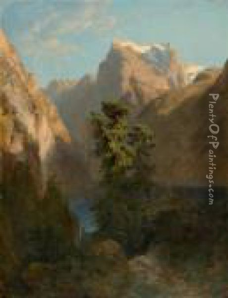 Lake Of Four Cantons With Urirotstock. Oil Painting - Alexandre Calame