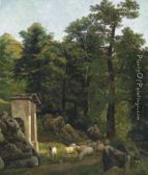 Landscape With Small Chapel And Animals Oil Painting - Alexandre Calame