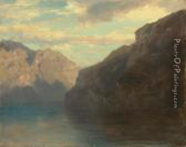 Mountain Lake Oil Painting - Alexandre Calame