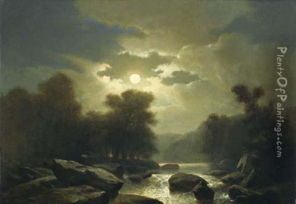 Mountain Stream In The Moonlight Oil Painting - Alexandre Calame