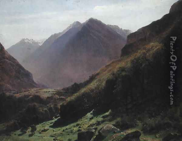 Mountain Study, c.1840-43 Oil Painting - Alexandre Calame