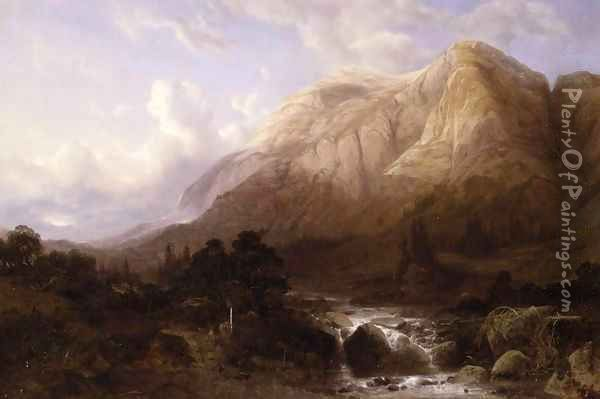 Mountainous Landscape with a Torrent Oil Painting - Alexandre Calame