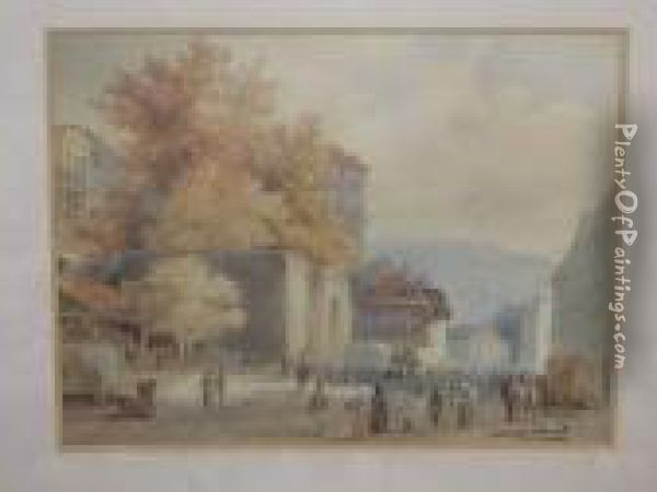 Street Scene, Signed And Inscribed, Watercolour Oil Painting - Alexandre Calame
