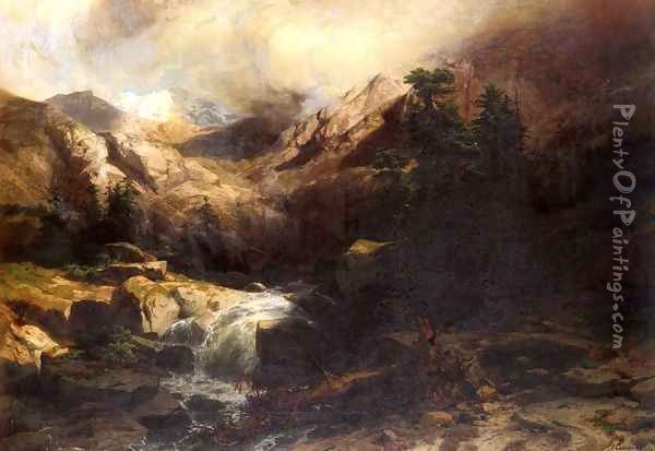 Torrent De Montagne (Mountain Torrent) Oil Painting - Alexandre Calame