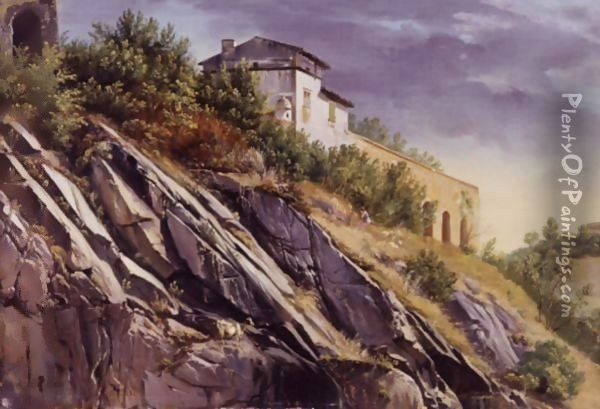 View Of A Building On Top Of A Rocky Hill Oil Painting - Alexandre Calame