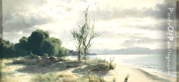 View Of The Lake Of Geneva, Near Evian Oil Painting - Alexandre Calame
