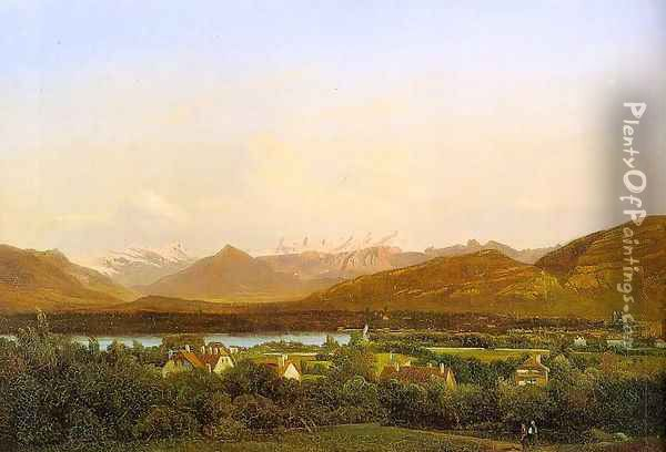 View of Geneva from Petit-Saconnex 1834 Oil Painting - Alexandre Calame