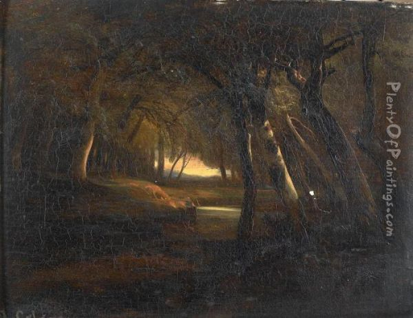 Waldlichtung Mit Bach Oil Painting - Alexandre Calame