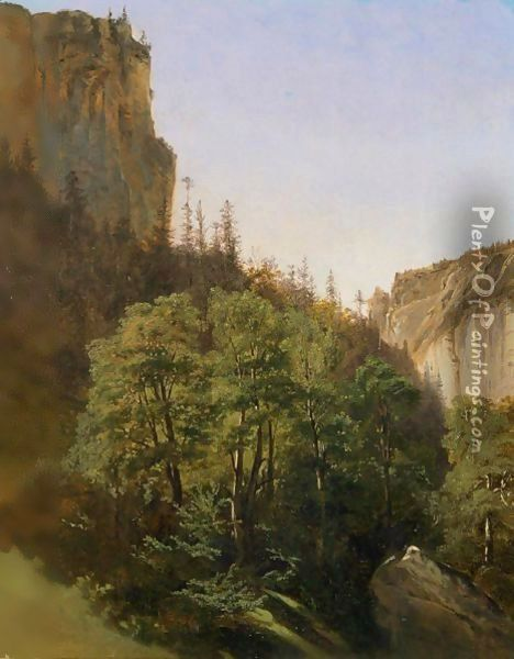 Woods And Rocky Cliffs Oil Painting - Alexandre Calame