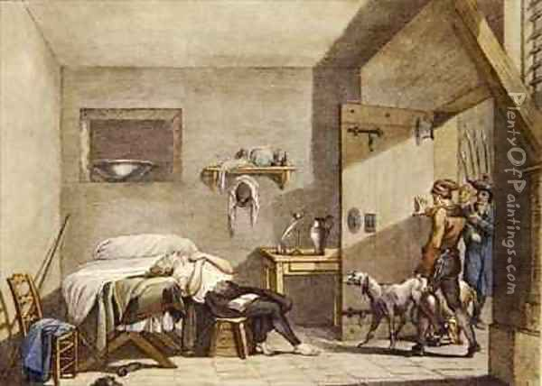 The Death of Condorcet in prison on 28th March Oil Painting - Alexandre Evariste Fragonard