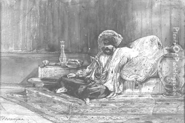 A reclining pasha Oil Painting - Alexandre Gabriel Decamps