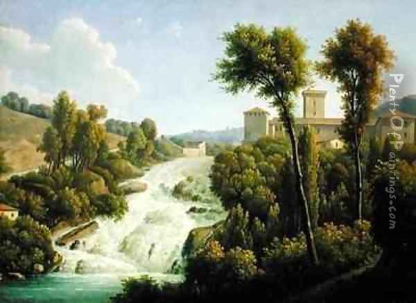 View from the Ile de Sora above the Waterfalls of the Chateau Oil Painting - Alexandre-Hyacinthe Dunouy