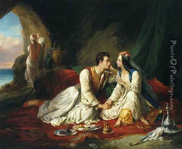 Byron as Don Juan, with Haidee, 1831 Oil Painting - Alexandre-Marie Colin