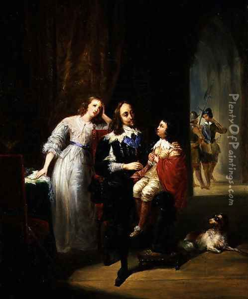 Charles I (1600-49) awaiting trial, Prince Henry (1640-60) Oil Painting - Alexandre-Marie Colin