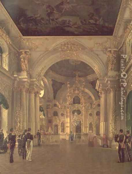 Interior of the Great Church in the Winter Palace, 1829 Oil Painting - Alexei Vasilievich Tyranov