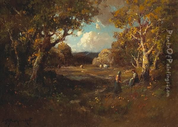 Two Figures Under Sheltering Trees With Cattle In A Clearing Oil Painting - Alexis Matthew Podchernikoff