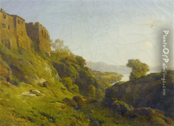 Lake View With A Ruin In The Foreground Oil Painting - Alfred Chavannes