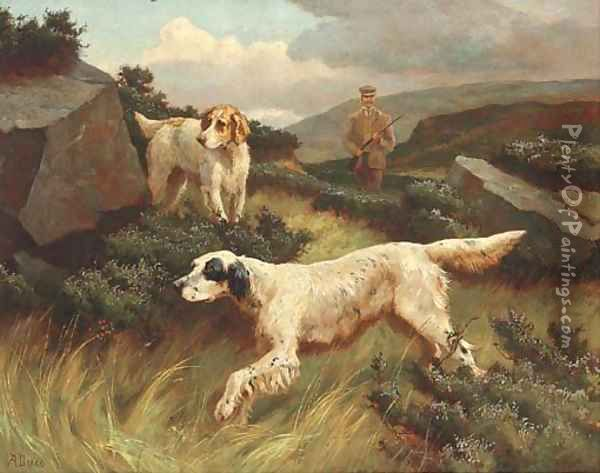 Setters on the point Oil Painting - Alfred Duke