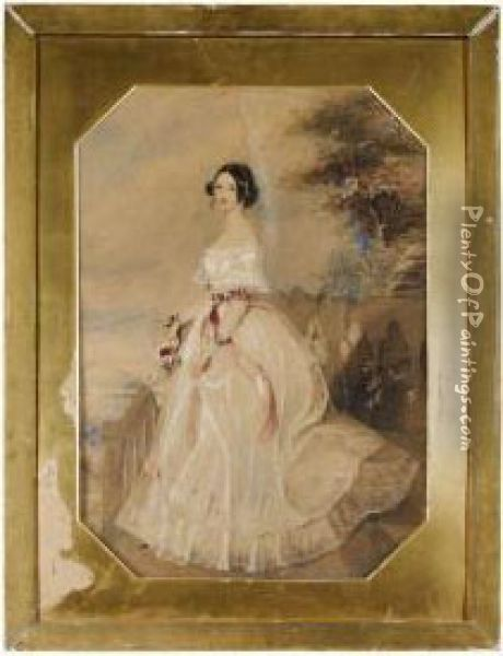 Portrait Of A Lady Standing Before A River Landscape Oil Painting - Alfred-Edward Chalon