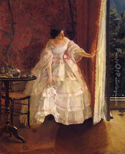Lady at a Window Feeding Birds Oil Painting - Alfred-Emile-Leopole Stevens