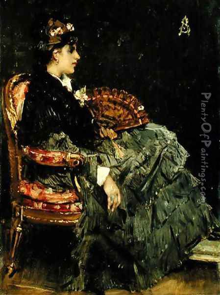 Seated Lady with a Fan Oil Painting - Alfred-Emile-Leopole Stevens