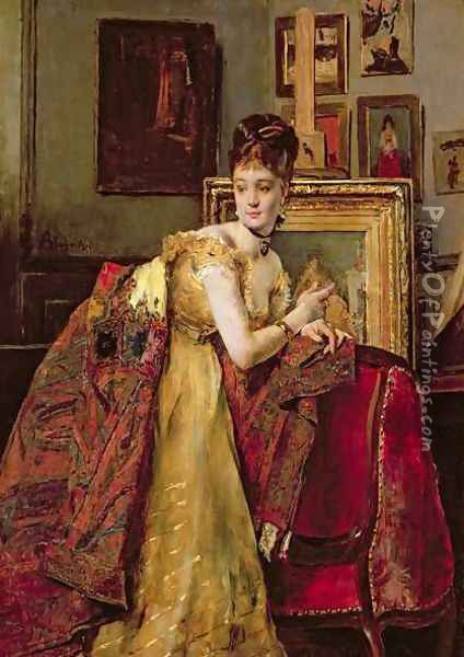 Woman with an Indian shawl in a studio Oil Painting - Alfred-Emile-Leopole Stevens