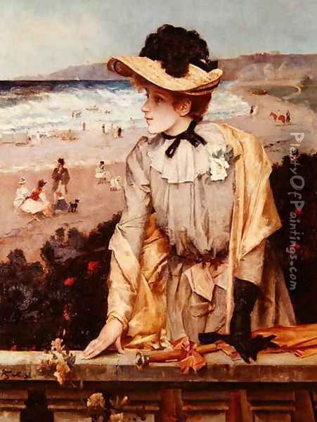 Young Woman at the Beach, or The Parisienne by the Sea Oil Painting - Alfred-Emile-Leopole Stevens