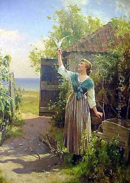 The Dove Oil Painting - Alfred Glendening
