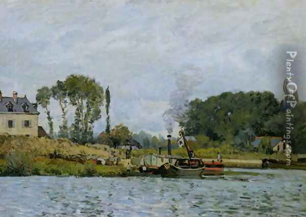 Boats at the lock at Bougival, 1873 Oil Painting - Alfred Sisley