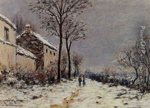 The Effect of Snow at Veneux Oil Painting - Alfred Sisley