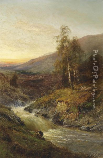 The Falls And Moors Of Inverary Oil Painting - Alfred de Breanski