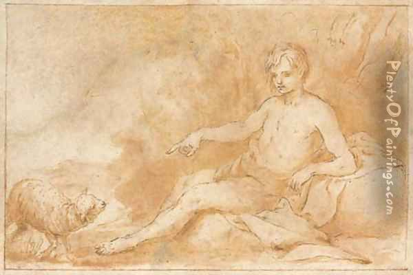 Saint John the Baptist, seated, pointing to a lamb Oil Painting - Alonso Cano
